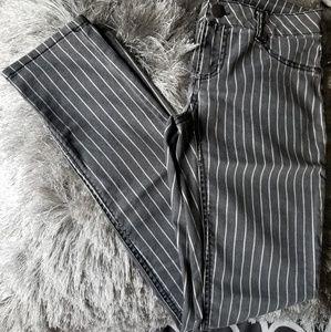 Pinstripe Denim Skinny Jeans